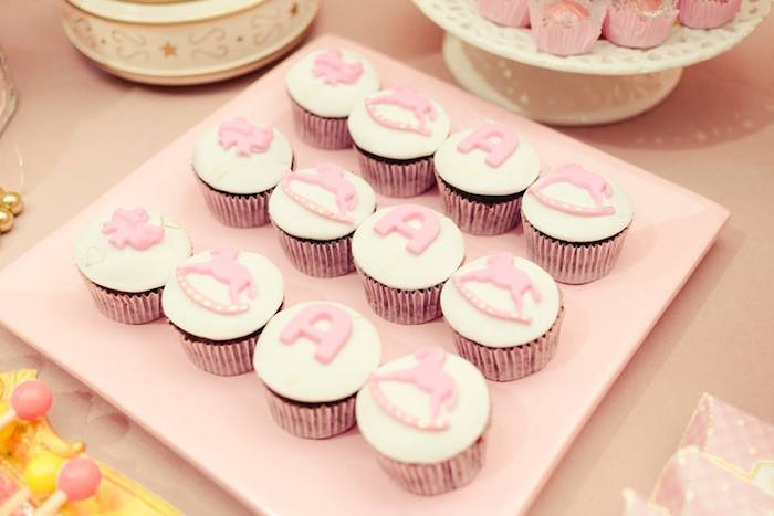 Cupcakes from a Pink Carousel Birthday Party on Kara's Party Ideas | KarasPartyIdeas.com (4)