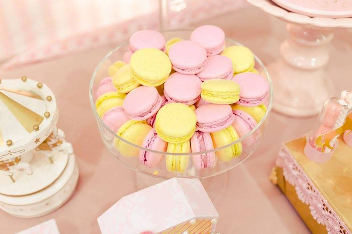 Yellow and pink macarons from a Pink Carousel Birthday Party on Kara's Party Ideas | KarasPartyIdeas.com (44)