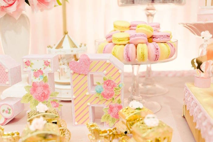 Block letters and macarons from a Pink Carousel Birthday Party on Kara's Party Ideas | KarasPartyIdeas.com (43)