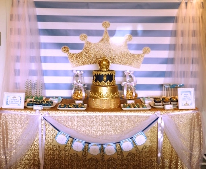 Dessert table from a Royal Celebration Birthday Party on Kara's Party Ideas | KarasPartyIdeas.com (16)