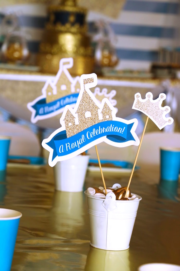 Table centerpiece from a Royal Celebration Birthday Party on Kara's Party Ideas | KarasPartyIdeas.com (15)
