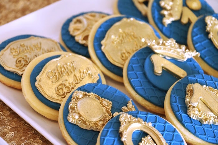 Royal cookies from a Royal Celebration Birthday Party on Kara's Party Ideas | KarasPartyIdeas.com (12)