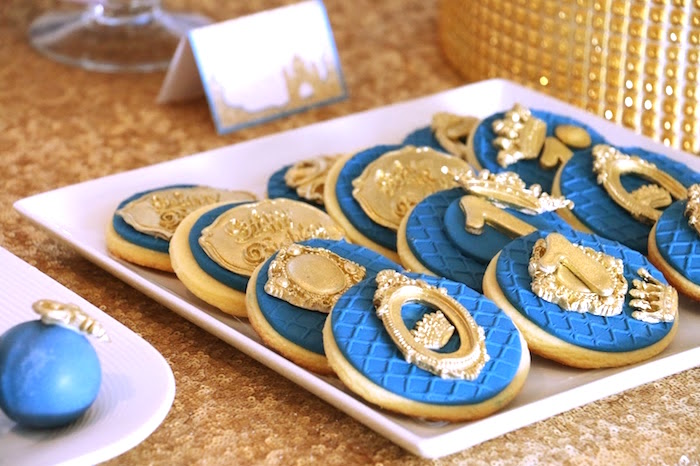 Blue and gold cookies from a Royal Celebration Birthday Party on Kara's Party Ideas | KarasPartyIdeas.com (11)
