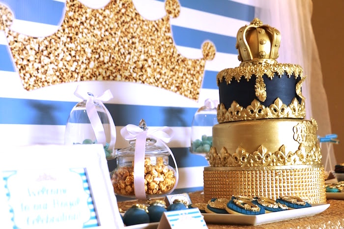 Crown backdrop & cake from a Royal Celebration Birthday Party on Kara's Party Ideas | KarasPartyIdeas.com (7)