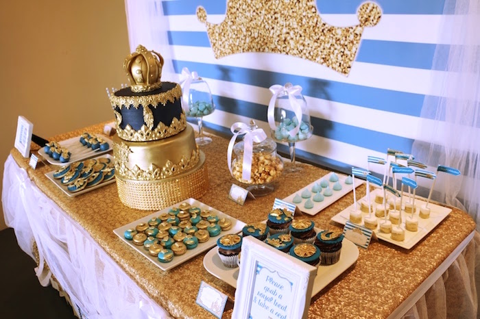 Royal dessert table from a Royal Celebration Birthday Party on Kara's Party Ideas | KarasPartyIdeas.com (5)