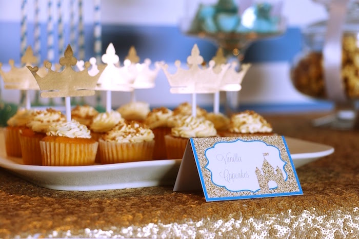 Cupcakes with crown picks from a Royal Celebration Birthday Party on Kara's Party Ideas | KarasPartyIdeas.com (24)