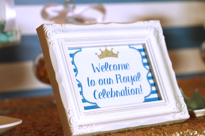 Welcome sign from a Royal Celebration Birthday Party on Kara's Party Ideas | KarasPartyIdeas.com (23)