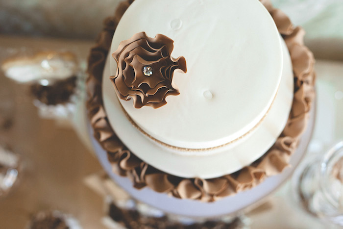 Top-view of cake from a Rustic Little Lamb Baby Shower on Kara's Party Ideas | KarasPartyIdeas.com (7)