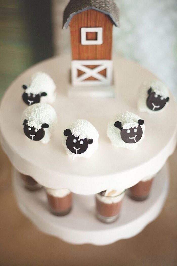 Sheep cake balles from a Rustic Little Lamb Baby Shower on Kara's Party Ideas | KarasPartyIdeas.com