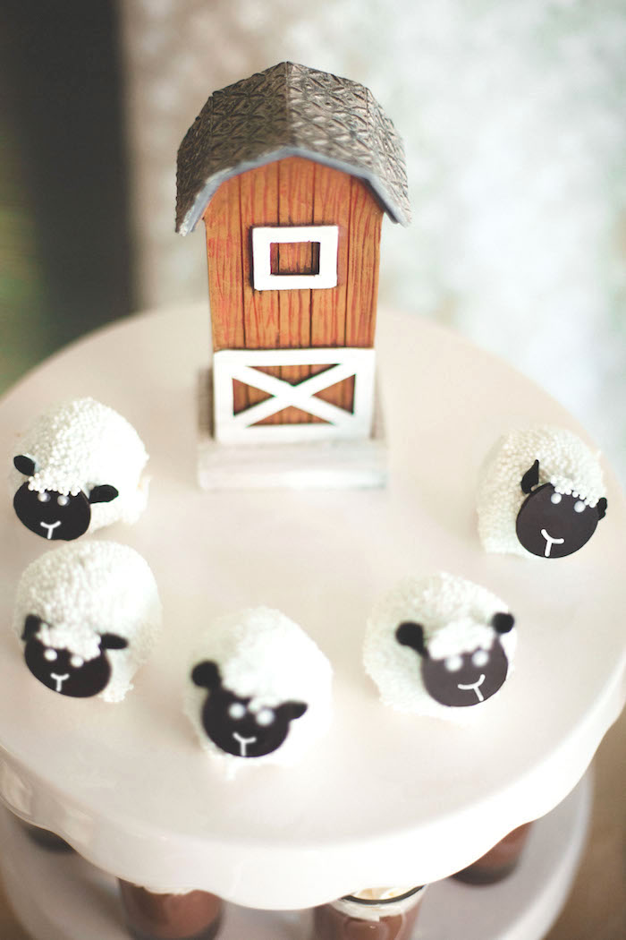 Sheep cake balls from a Rustic Little Lamb Baby Shower on Kara's Party Ideas | KarasPartyIdeas.com (3)