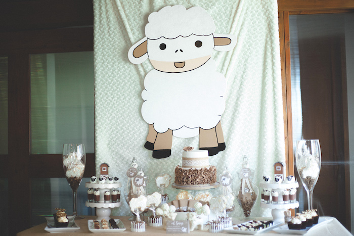 Little lamb sweet table from a Rustic Little Lamb Baby Shower on Kara's Party Ideas | KarasPartyIdeas.com (16)