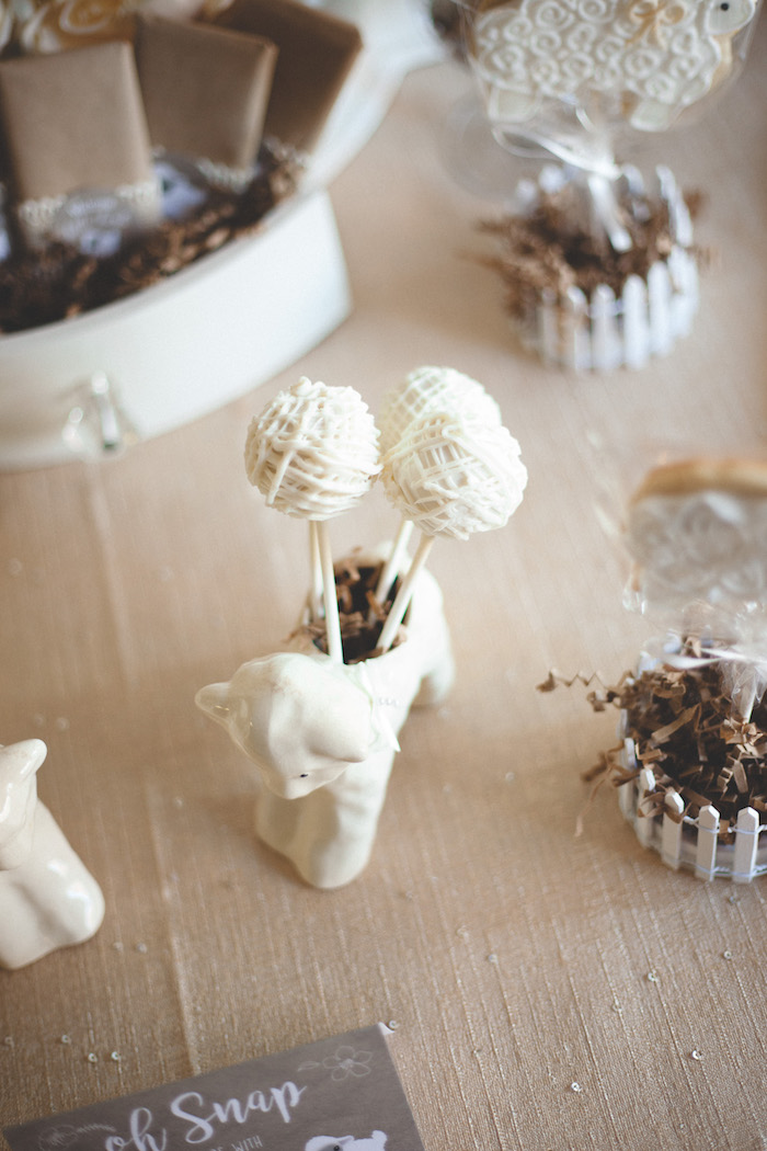 Cake pops from a Rustic Little Lamb Baby Shower on Kara's Party Ideas | KarasPartyIdeas.com (15)