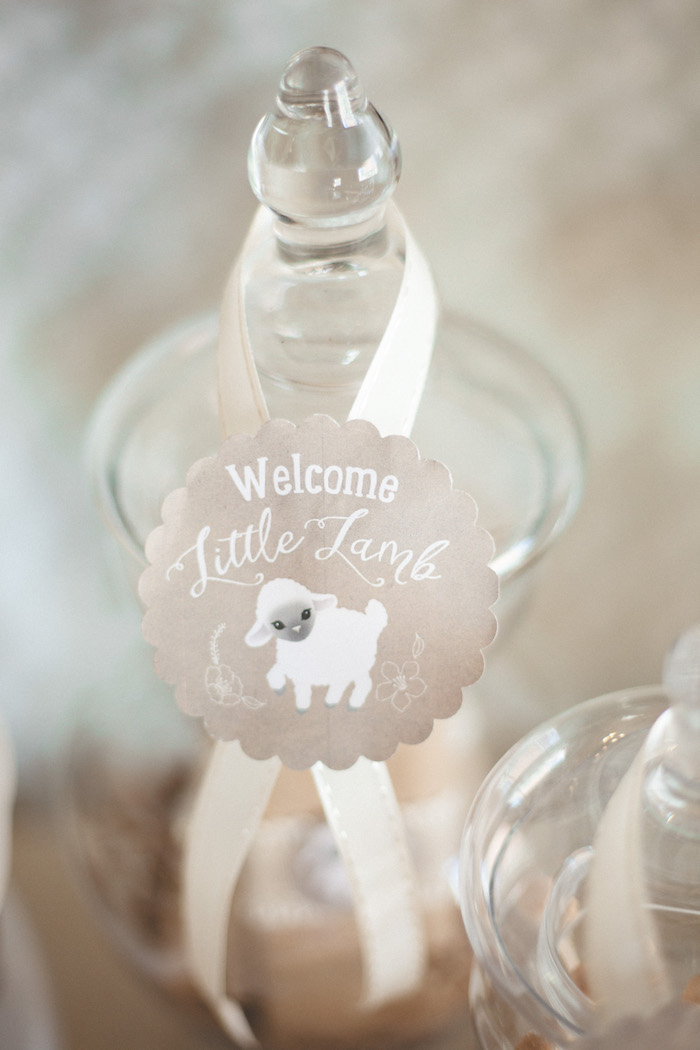 Lamb ribbon tag from a Rustic Little Lamb Baby Shower on Kara's Party Ideas | KarasPartyIdeas.com (14)