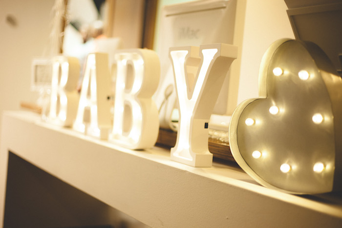 Marquee letter lights from a Rustic Little Lamb Baby Shower on Kara's Party Ideas | KarasPartyIdeas.com (9)