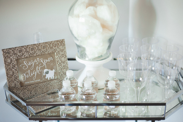 Drink bar + cotton candy from a Rustic Little Lamb Baby Shower on Kara's Party Ideas | KarasPartyIdeas.com (8)