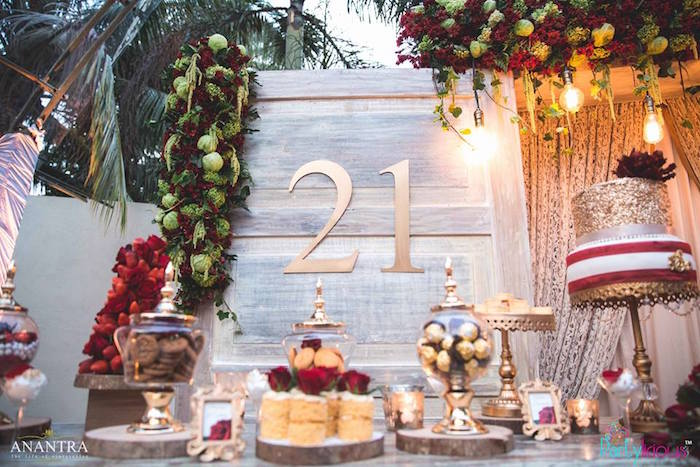 Dessert table from a Rustic Vintage 21st Birthday Party on Kara's Party Ideas | KarasPartyIdeas.com (37)