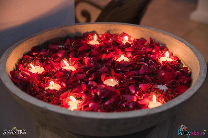 Rose petals and tea lights from a Rustic Vintage 21st Birthday Party on Kara's Party Ideas | KarasPartyIdeas.com (36)