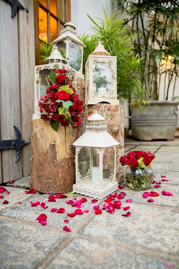 Decorative Lanterns And Roses From A Rustic Vintage 21st Birthday Party On Karas Ideas
