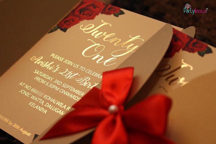 Gold scripted party invitation from a Rustic Vintage 21st Birthday Party on Kara's Party Ideas | KarasPartyIdeas.com (49)
