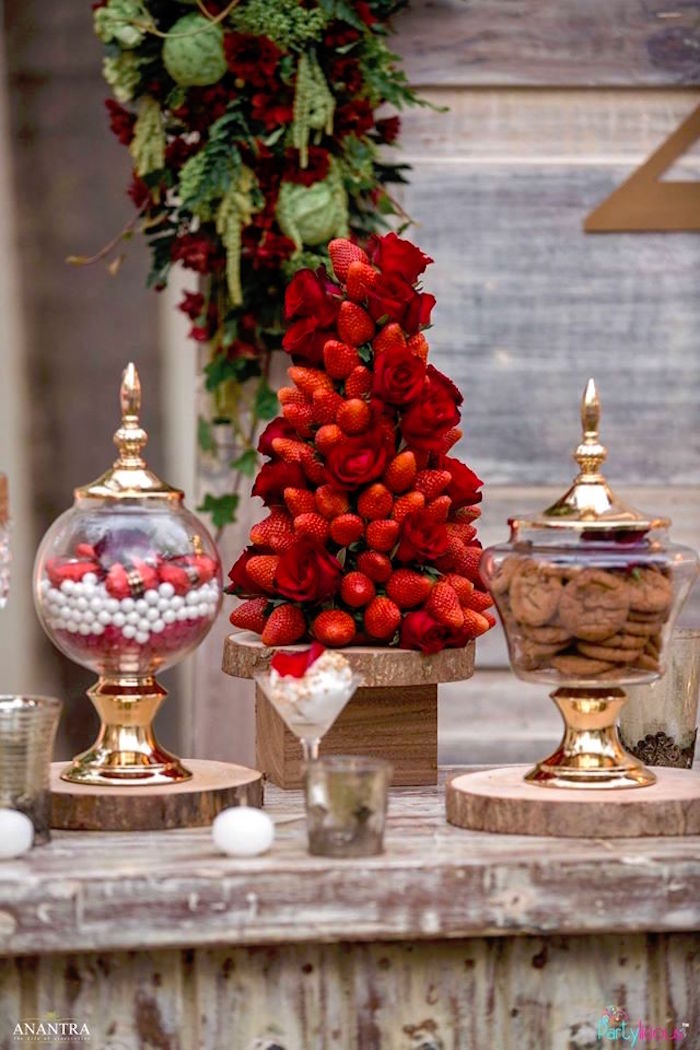 Strawberry rose tower from a Rustic Vintage 21st Birthday Party on Kara's Party Ideas | KarasPartyIdeas.com (29)