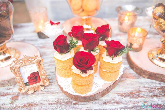 Mini rose cakes from a Rustic Vintage 21st Birthday Party on Kara's Party Ideas | KarasPartyIdeas.com (28)