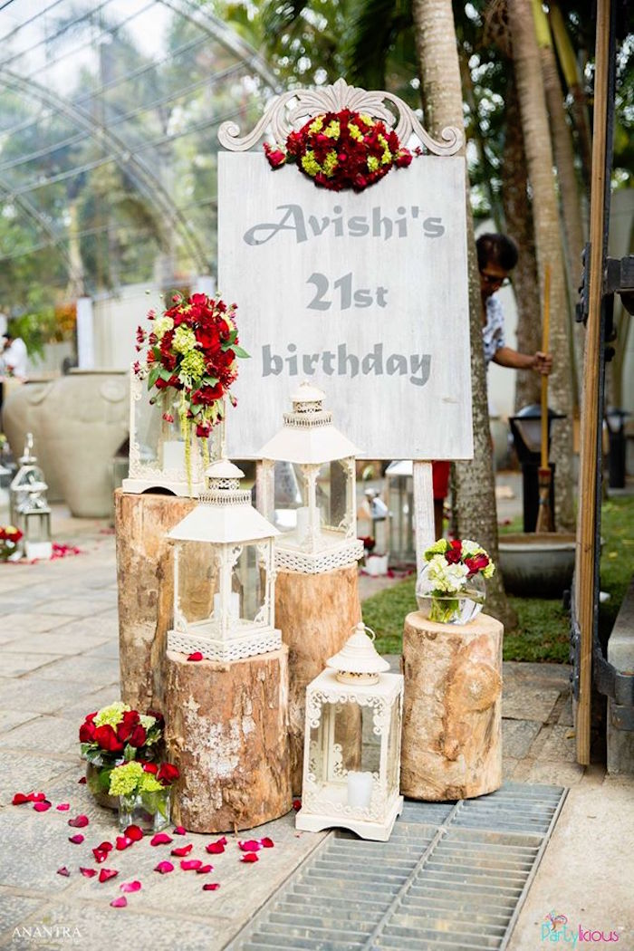 Kara 39 s party ideas rustic vintage 21st birthday party for 21st birthday home decorations