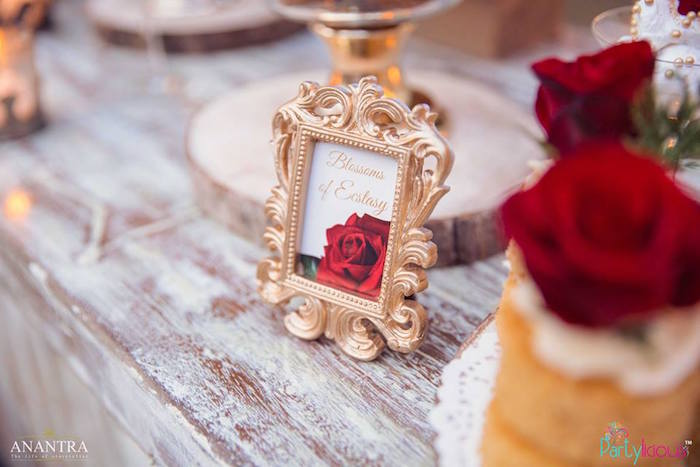 Rose print in gold ornate frame from a Rustic Vintage 21st Birthday Party on Kara's Party Ideas | KarasPartyIdeas.com (18)