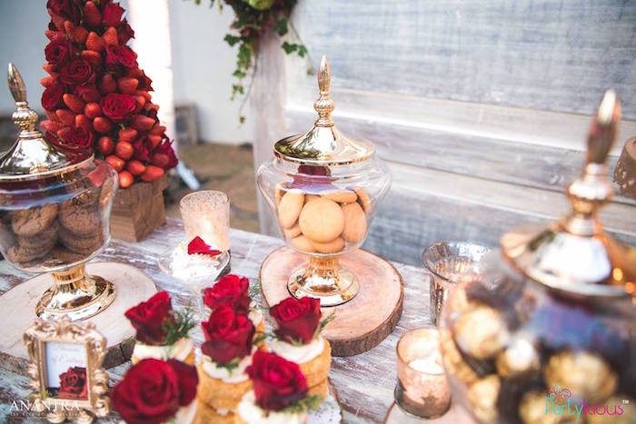 Gold apothecary jars from a Rustic Vintage 21st Birthday Party on Kara's Party Ideas | KarasPartyIdeas.com (15)