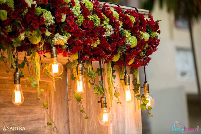 Hanging Lights Flower Garland Spray From A Rustic Vintage 21st Birthday Party On Karas