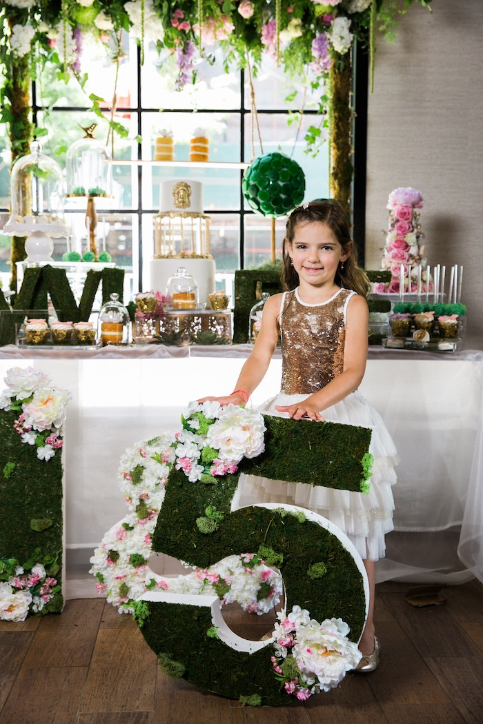 Floral moss number from a Secret Garden Birthday Party on Kara's Party Ideas | KarasPartyIdeas.com (28)
