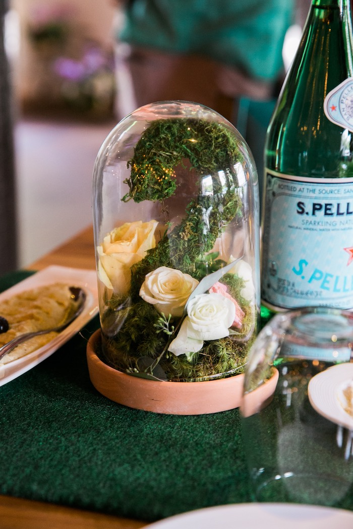 "Moss ""2"" and flower cloche centerpiece from a Secret Garden Birthday Party on Kara's Party Ideas 