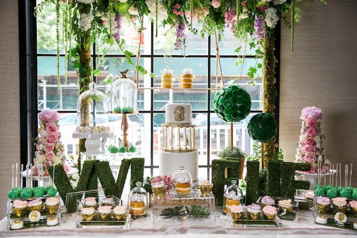 Garden dessert table from a Secret Garden Birthday Party on Kara's Party Ideas | KarasPartyIdeas.com (22)