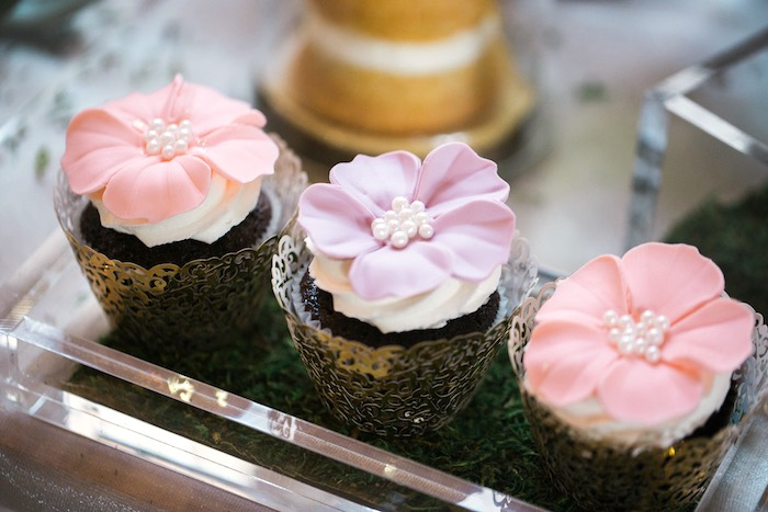 Flower topped cupcakes with pearls from a Secret Garden Birthday Party on Kara's Party Ideas | KarasPartyIdeas.com (39)