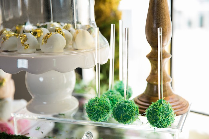 Grass cake pops from a Secret Garden Birthday Party on Kara's Party Ideas | KarasPartyIdeas.com (20)