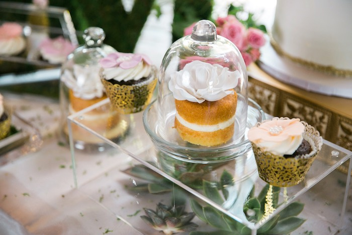 Mini cake and cupcakes from a Secret Garden Birthday Party on Kara's Party Ideas | KarasPartyIdeas.com (18)