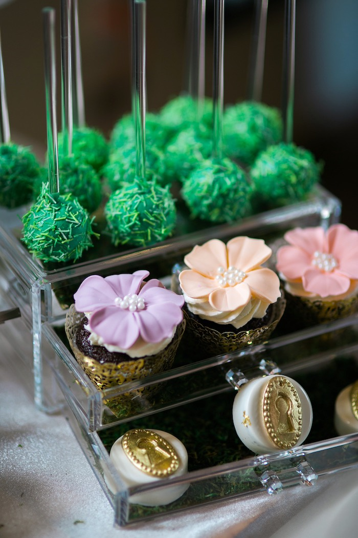 Cake pops, cupcakes and gold key lock cookies from a Secret Garden Birthday Party on Kara's Party Ideas | KarasPartyIdeas.com (15)