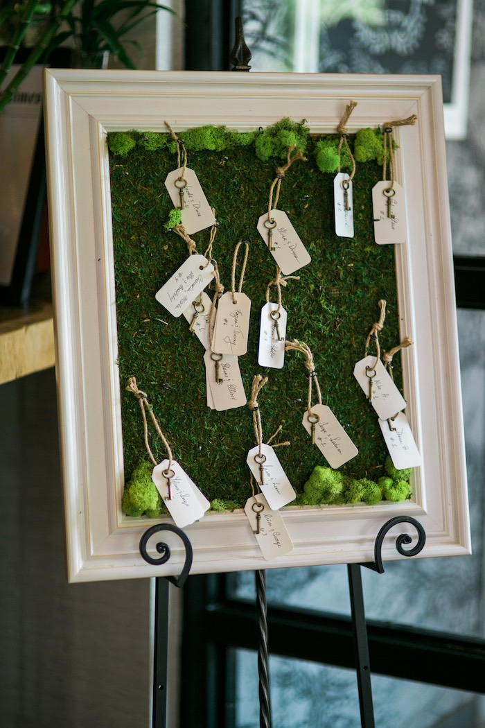 Rustic key and tag seating chart from a Secret Garden Birthday Party on Kara's Party Ideas | KarasPartyIdeas.com (14)