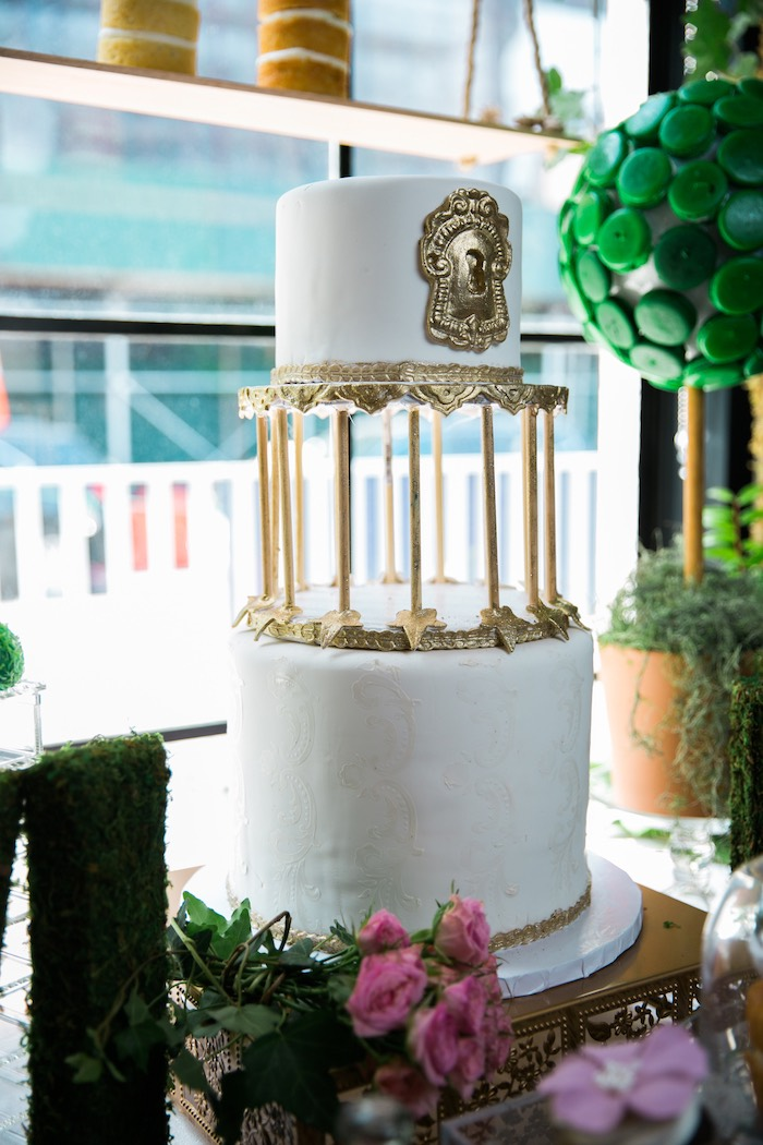 Elegant 2-tiered cake from a Secret Garden Birthday Party on Kara's Party Ideas | KarasPartyIdeas.com (12)