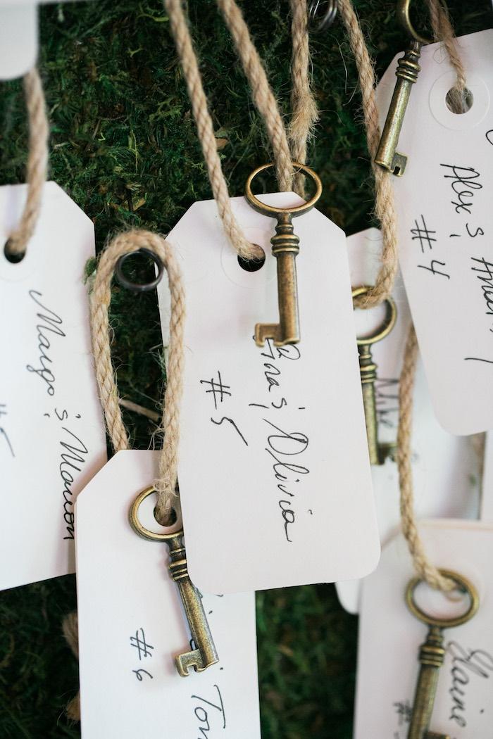 Vintage key seat cards from a Secret Garden Birthday Party on Kara's Party Ideas | KarasPartyIdeas.com (38)