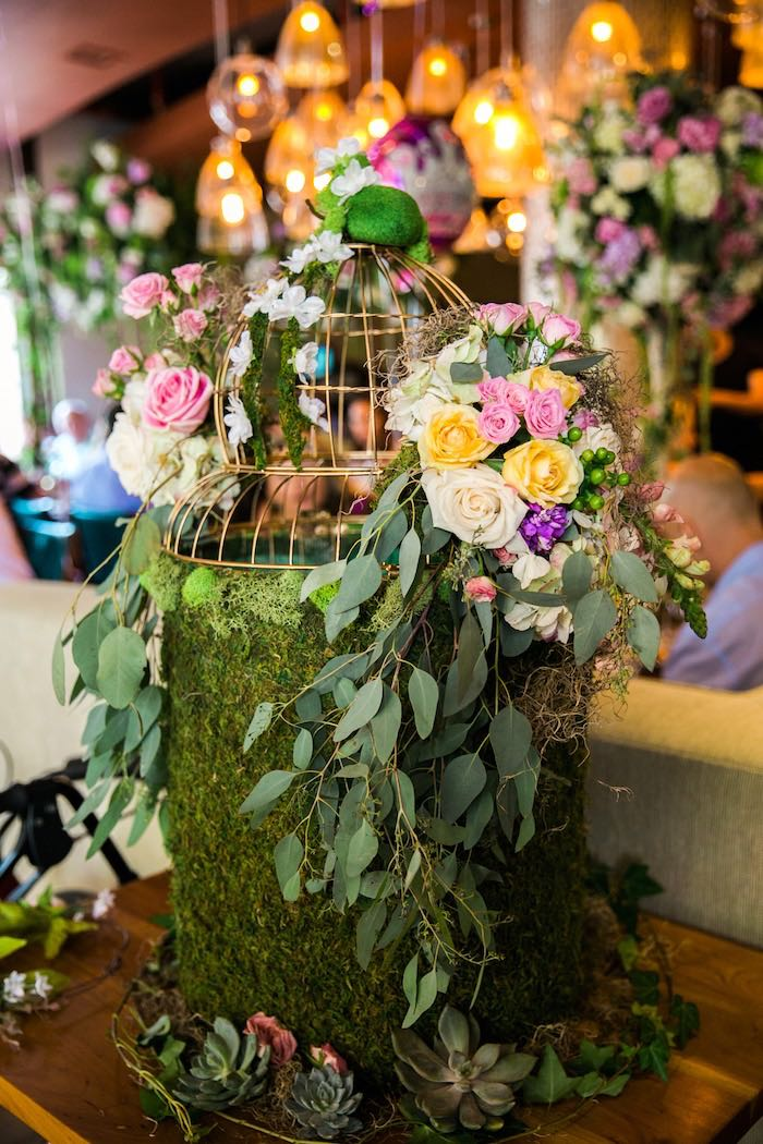 Flower moss cage from a Secret Garden Birthday Party on Kara's Party Ideas | KarasPartyIdeas.com (9)