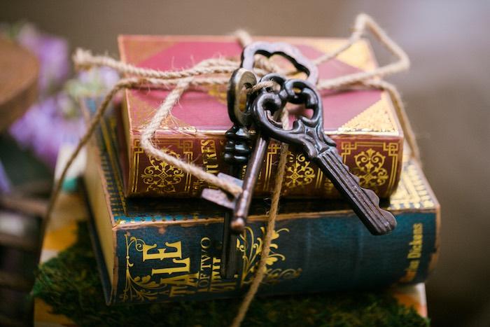 Vintage key & book centerpiece from a Secret Garden Birthday Party on Kara's Party Ideas | KarasPartyIdeas.com (35)