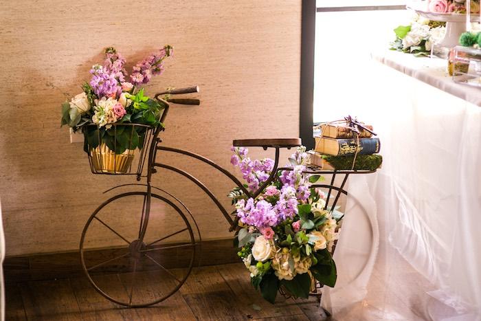 Vintage bike with flowers from a Secret Garden Birthday Party on Kara's Party Ideas | KarasPartyIdeas.com (31)