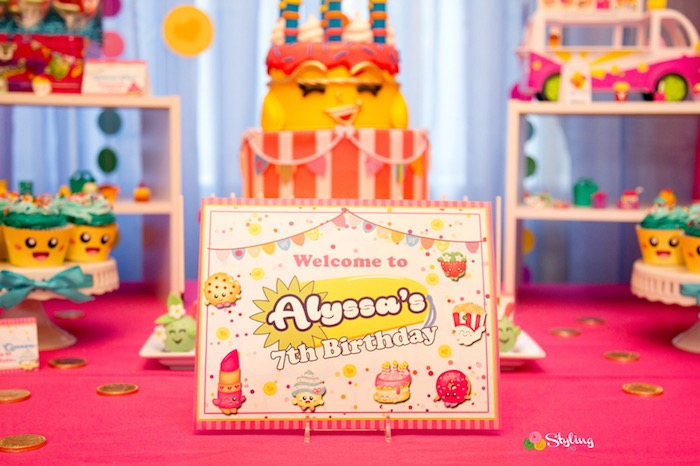 Welcome sign + Shopkins party signage from a Shopkins Birthday Party on Kara's Party Ideas | KarasPartyIdeas.com (16)