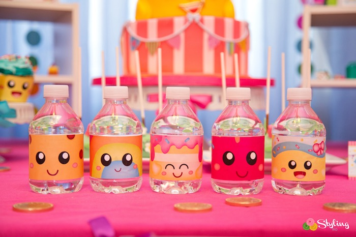 Shopkins character water bottles from a Shopkins Birthday Party on Kara's Party Ideas | KarasPartyIdeas.com (13)