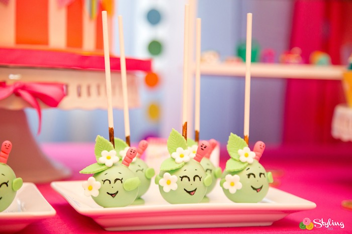 Apple Blossom cake pops from a Shopkins Birthday Party on Kara's Party Ideas | KarasPartyIdeas.com (27)