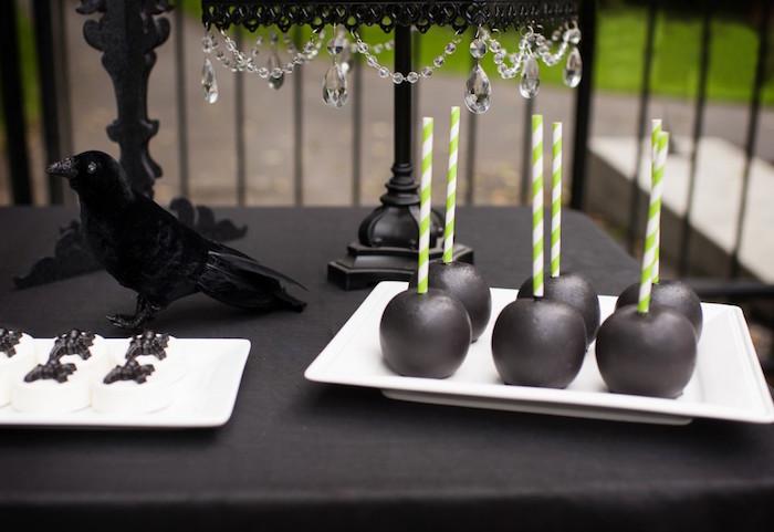 Black candy apples from a Spooktacular Halloween Party via Kara's Party Ideas | KarasPartyIdeas.com (31)