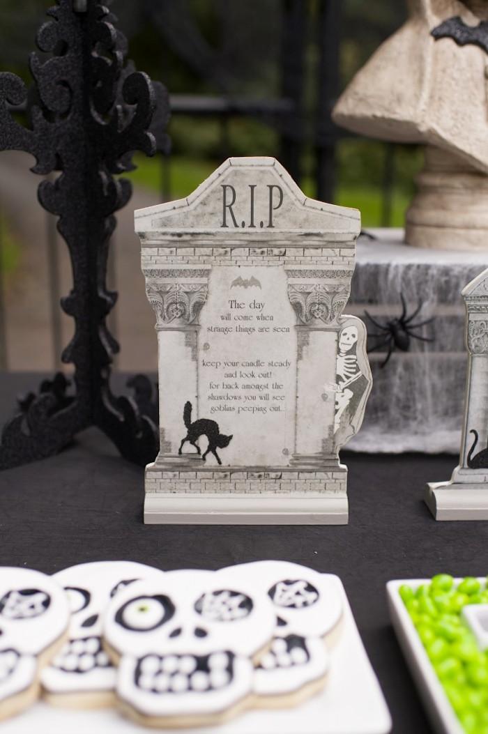 Tombstone dummy board + standee from a Spooktacular Halloween Party via Kara's Party Ideas | KarasPartyIdeas.com (26)