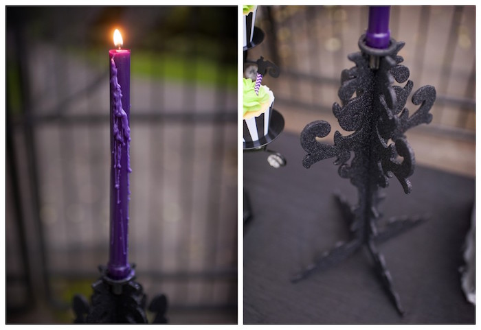 Purple candlestick and black candleabra from a Spooktacular Halloween Party via Kara's Party Ideas | KarasPartyIdeas.com (42)
