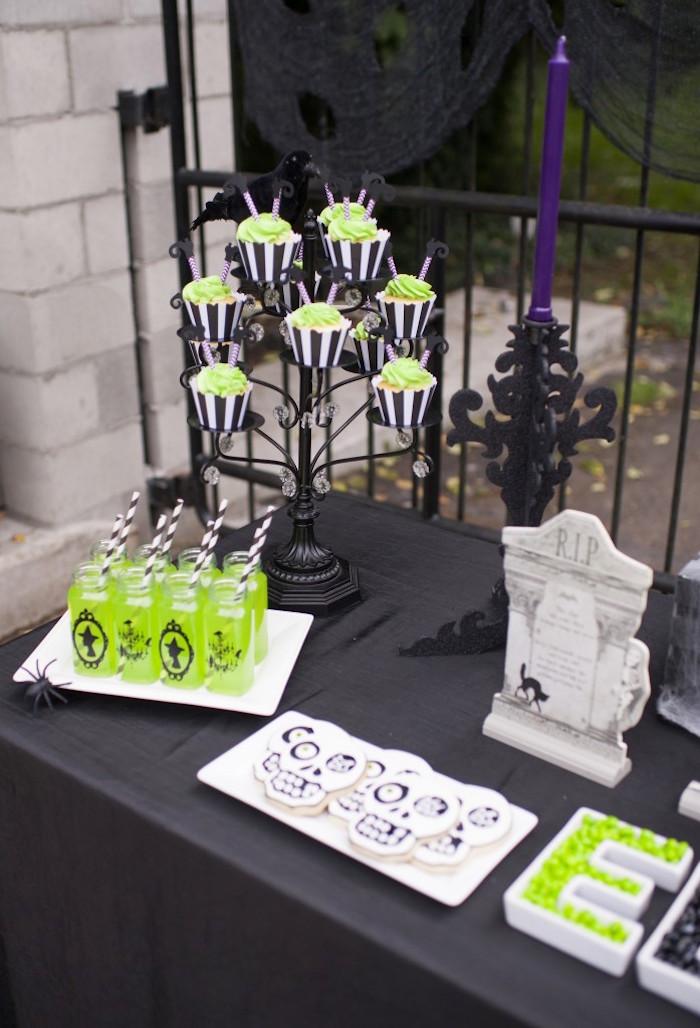 Spooky dessert table detail from a Spooktacular Halloween Party via Kara's Party Ideas | KarasPartyIdeas.com (20)