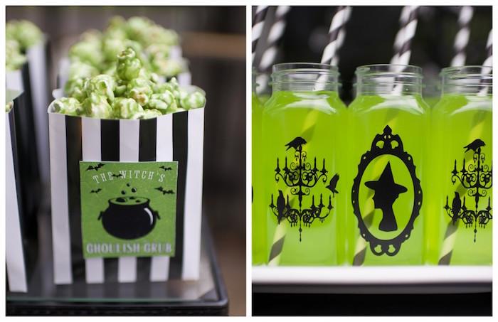 Popcorn & drinks from a Spooktacular Halloween Party via Kara's Party Ideas | KarasPartyIdeas.com (41)